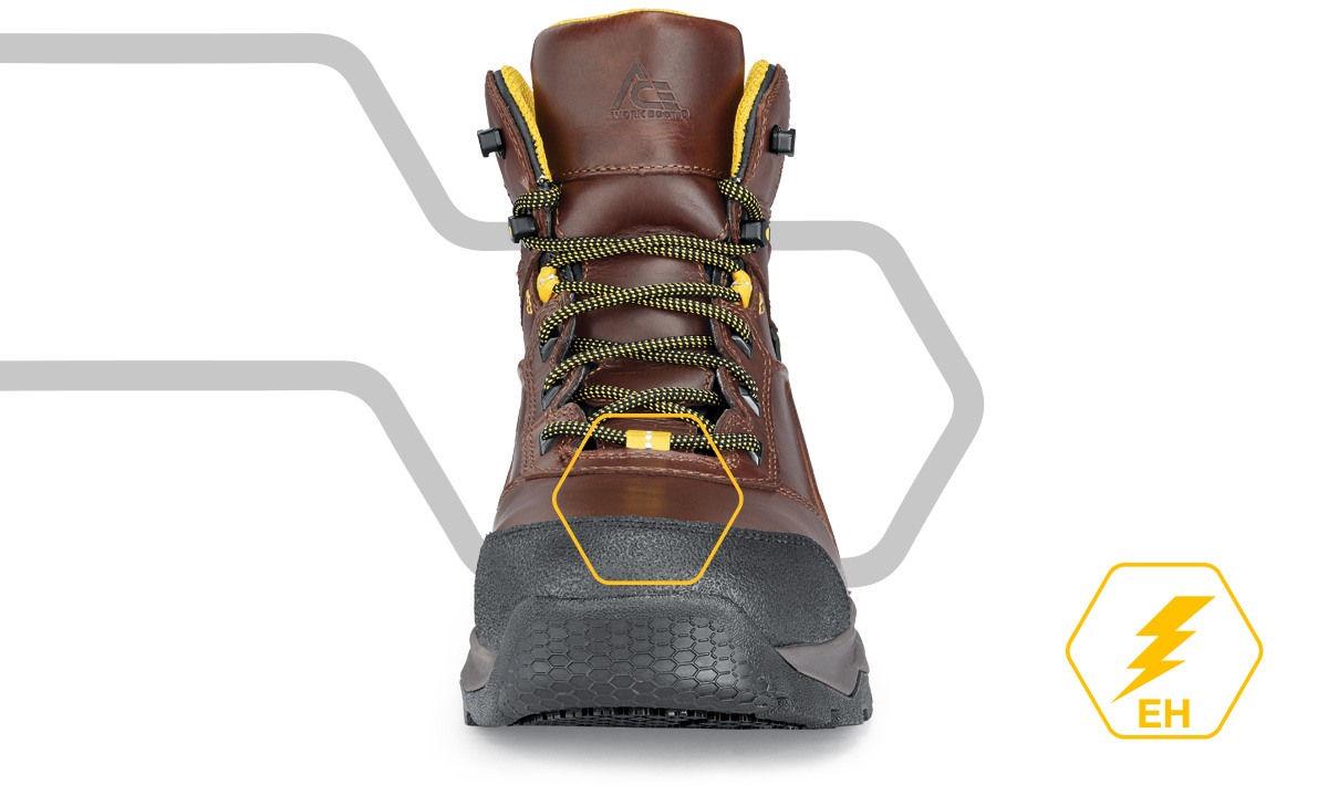 Things can get hot on the job. Our EH rated boots and shoes significantly impede the flow of electricity through the shoe and into the ground, reducing the likelihood of electrocution. EH rated styles can protect you from up to 600 volts in a dry setting.