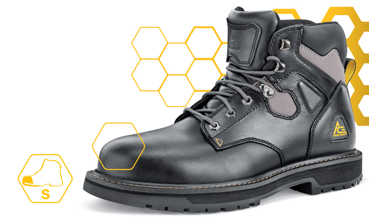 ACE boots with steel toes have a protective reinforcement plate to protect you from compression or falling objects.