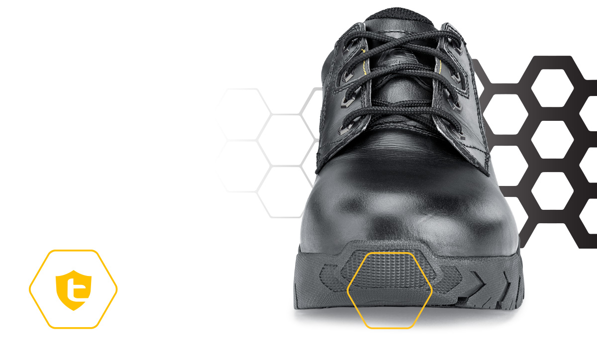 Sometimes big, squared off lugs at the front of your shoe can be a trip hazard, so we created TripGuard. The slight curve and tighter lug pattern make it easy for you to move from slippery surfaces to carpet and rugs and back again safely.