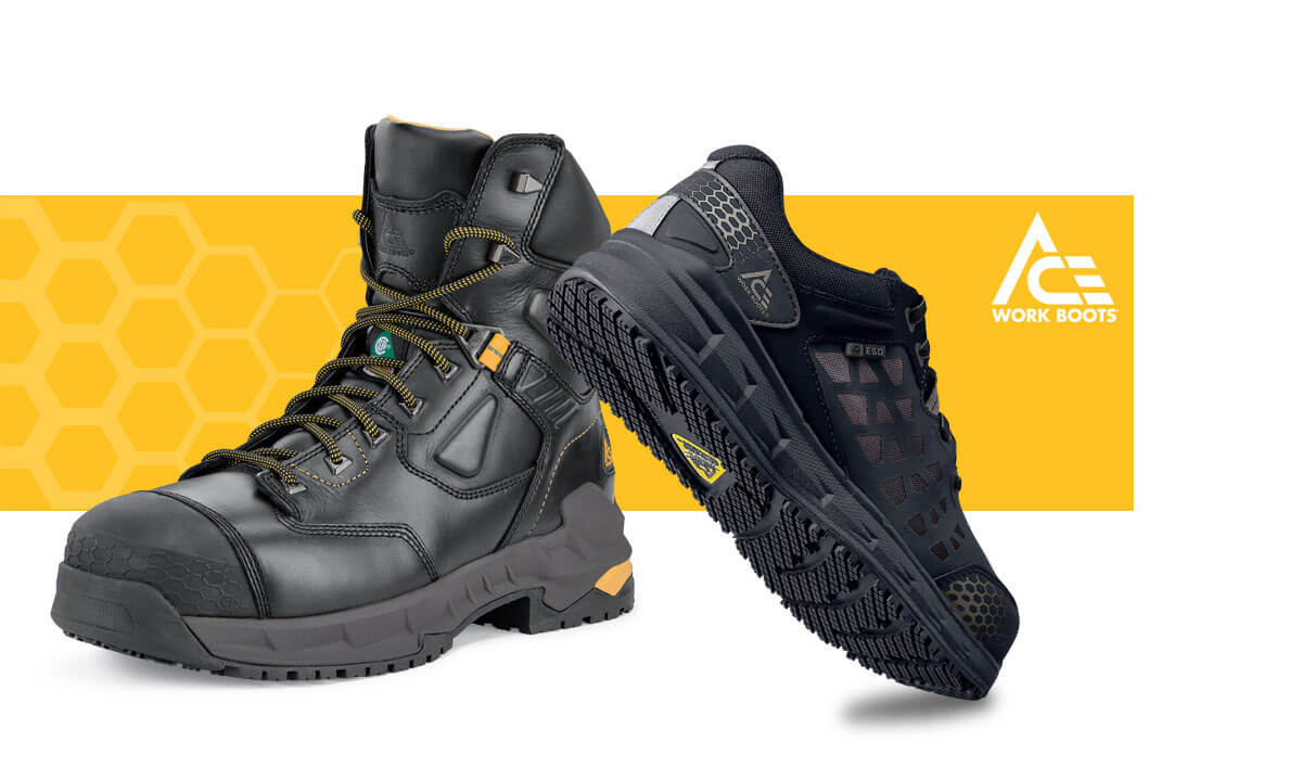 ACE industrial boots and shoes push the boundaries of work footwear by incorporating technologies and materials that specifically address not only your fundamental safety, but also your job performance and comfort. Purpose-built for people who work in wet and slippery conditions, and for those who transition across multi-environment surfaces, ACE holds up to the toughest conditions to get you home safe.