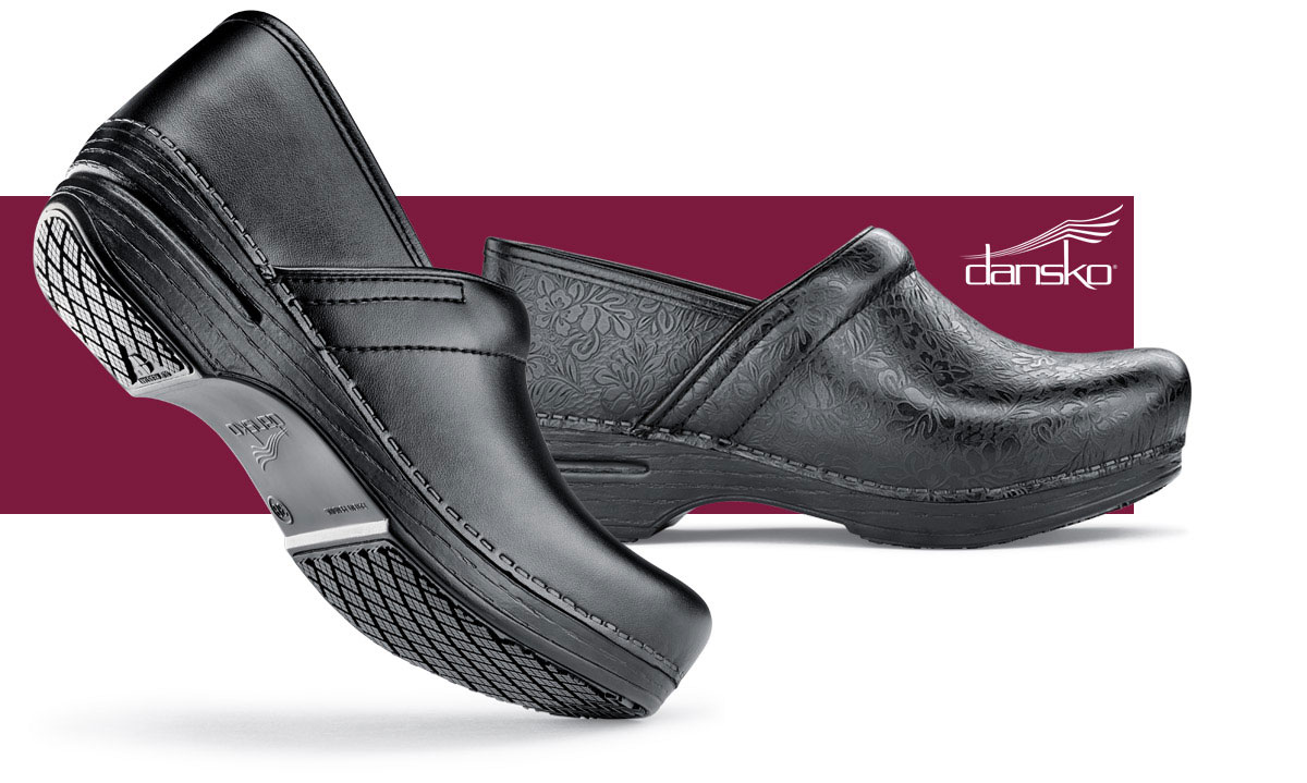The comfort, support, fit and durability Dansko is famous for, now with the exclusive Shoes For Crews slip-resistant outsole!