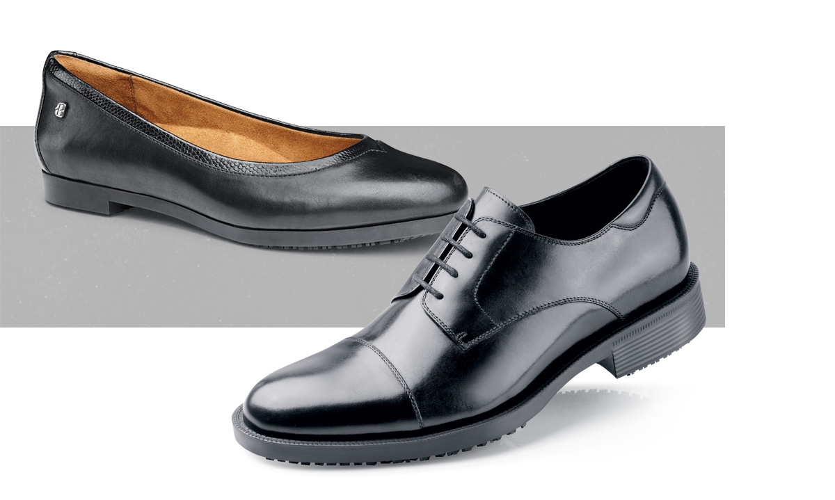 They don't pay you to look good. You throw that in for free. And in these new dress shoes, you'll be safe on the job, and ready for whatever comes later.