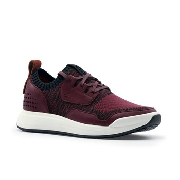 MOZO City Runner Knit - Women's Casual Burgundy Non-Slip Canvas Work Shoes | Shoes For Crews