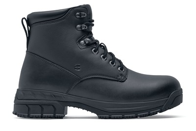 Rowan - Steel Toe - Men s Black Leather Non-Slip Work Boots - Shoes For 8cccf43bb3a0